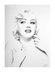 Marilyn Minimal Portrait with Hoop Earrings by IleanaHunter
