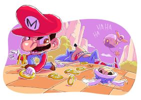 Mario and Sonic by DerekHunter