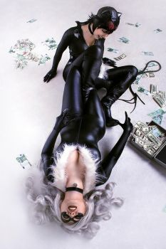Black Cat vs Catwoman cosplay 3 by TinOmenOgre