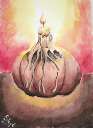 Watercolor candle on a pumpkin by SulaimanDoodle