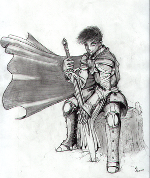 Paladin in thought by whobblenator