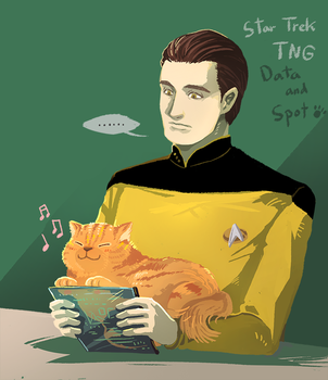 Star Trek TNG : Data and Spot by Mushstone