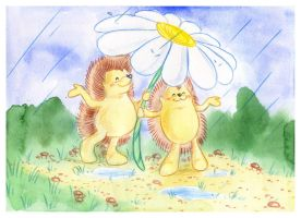 Hedgehogs with umbrella by jkBunny