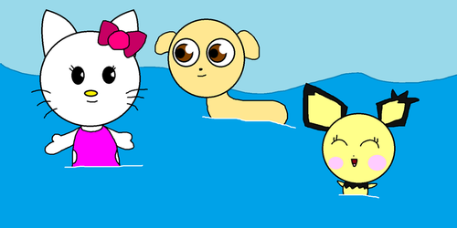 3 Animals In The Pool by 123emilymason