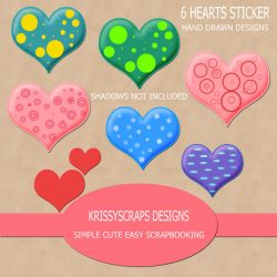 Heart Stickers by KittyAdoptable