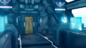 The corridor of the spaceship by Foxeleos