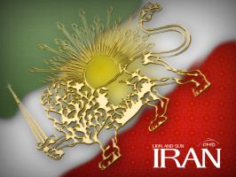 Old Iran Flag - Lion and Sun by OMVocational
