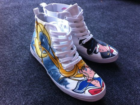 Jessman5 custom shoes. [Sailor Moon+Tuxedo Mask] by Jessman5
