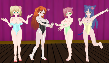 Mahjong Pretty Girls Naughty Mizugis by quamp