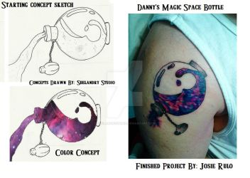 Danny's magic space bottle tattoo. by ShelandryStudio