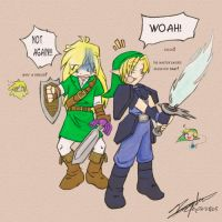 Fun time with Link an' Gourry by MazokuElfCuldil