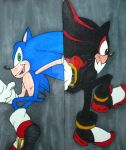 Sonic VS Shadow Bookmark by InkArtWriter