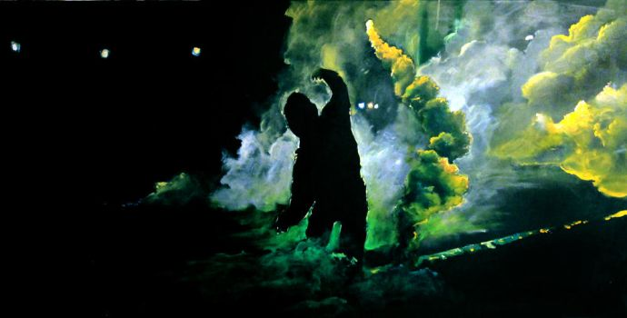 Acrylic on canvas - Baltimore riots by DoodleWithGlueGun