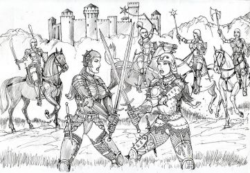 Amazon Knights in the Combat front of the Castle by GEN-12