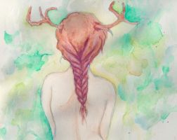 Girl with Antlers by Lemonthrower