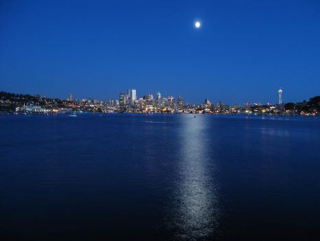 Seattle moonlit waters by Cobra740