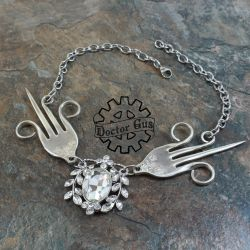 Flying Fork Necklace with Crystals by Doctor-Gus