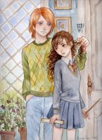 Ron and Hermione -accuareil- 2 by keerakeera