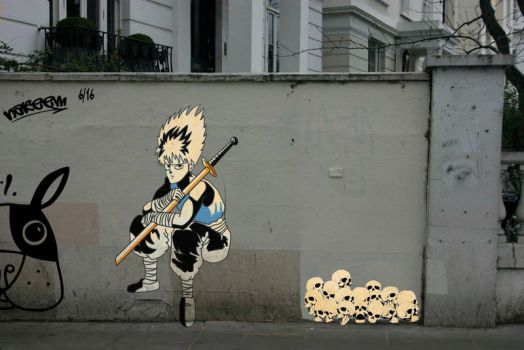 Stencil Art Hiei by Whatsome