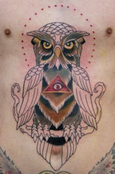 owl tattoo WIP by graynd