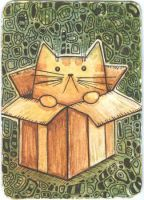 ACEO ATC Cat in a box zentangle by Siriliya