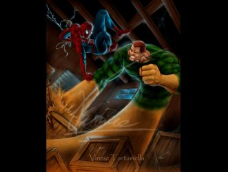Sandman and Spidey by VinRoc