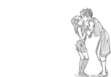 Natsu and Lucy Kiss (Sketch) by Chewp