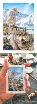 Wolves miniature painting by Heliocyan