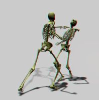 The Skeleton Fight - Anaglyph by jkutianski