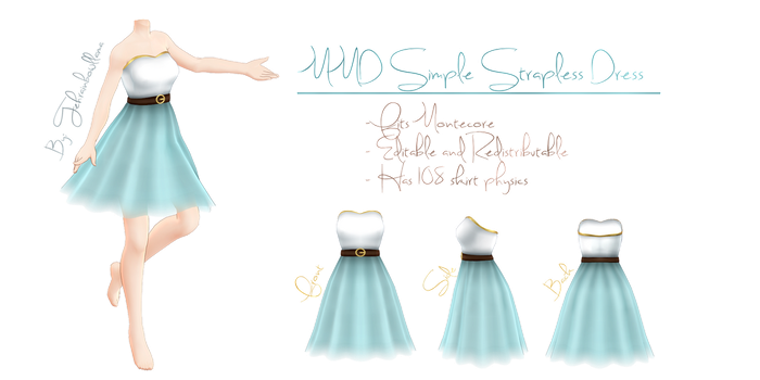 MMD Simple Strapless Dress by Tehrainbowllama