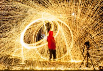 Fire Spinning with Steel Wool by FU51ON