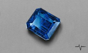 Realistic Scratched Sapphire Gemstone - Drawing by Anubhavg