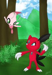 Sneasel and Celebi by AusLove