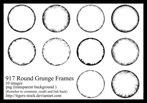 917 Round Grunge Frames by Tigers-stock
