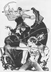 Teen Titans Line Art by AdamHughes