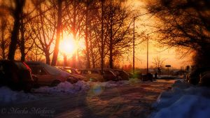Winter sunset in my street by mmirkovic