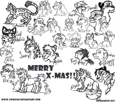 Christmas Gifts -Sketch Dump by 2wolfan