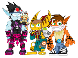 Crash, Ratchet and Jak as Skylanders by The1stMoyatia