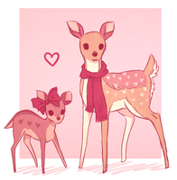 Doe and Fawn Adoptables  100 points [Closed] by Lynnlynn99