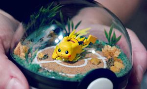 Pikachu Battle Field Close Up -Poke Ball Terrarium by TheVintageRealm