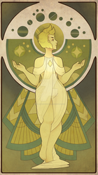 Art Nouveau inspired Yellow Diamond by Decapitated-Kittens