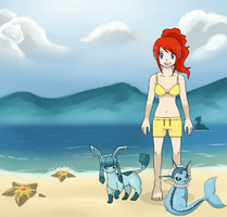 Pokemon Quest: Jessica went swimming in the Lake by WillDynamo55