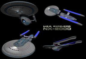 U.S.S. Excelsior NX-2000 (Multiview) by calamitySi