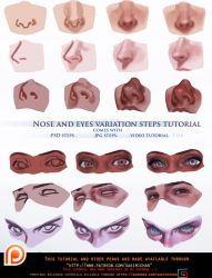 Nose and eyes variation steps tutorial.promo. by sakimichan