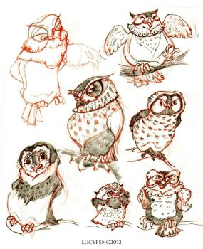 owls doodles by lucyelva