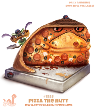 Daily Paint 1953# Pizza the Hutt by Cryptid-Creations