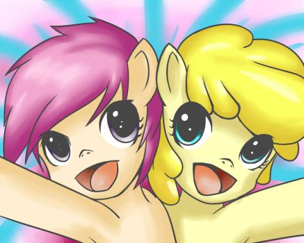 HUGZ-Scootaloo and Summerset by Sagasshi