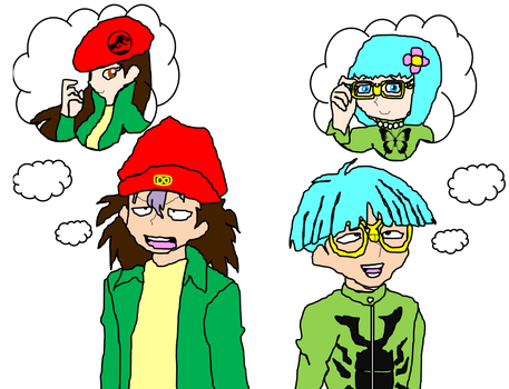 Rex and Weevil's imaginary girlfriends by Amazingangus76