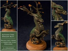 Autumn Tree Dragon Bust by emilySculpts