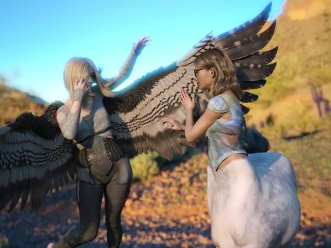 Harpy Aniek and Centaur Ella Sideways by N0ctrne by StoryMaple